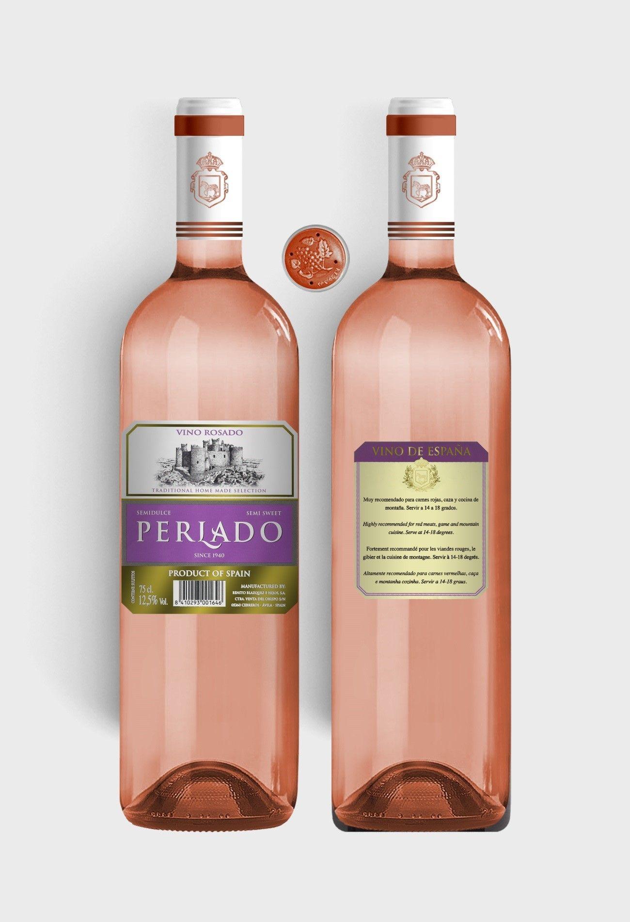 Benito Blázquez - Botella de Vino Perlado Semidulce Rosado