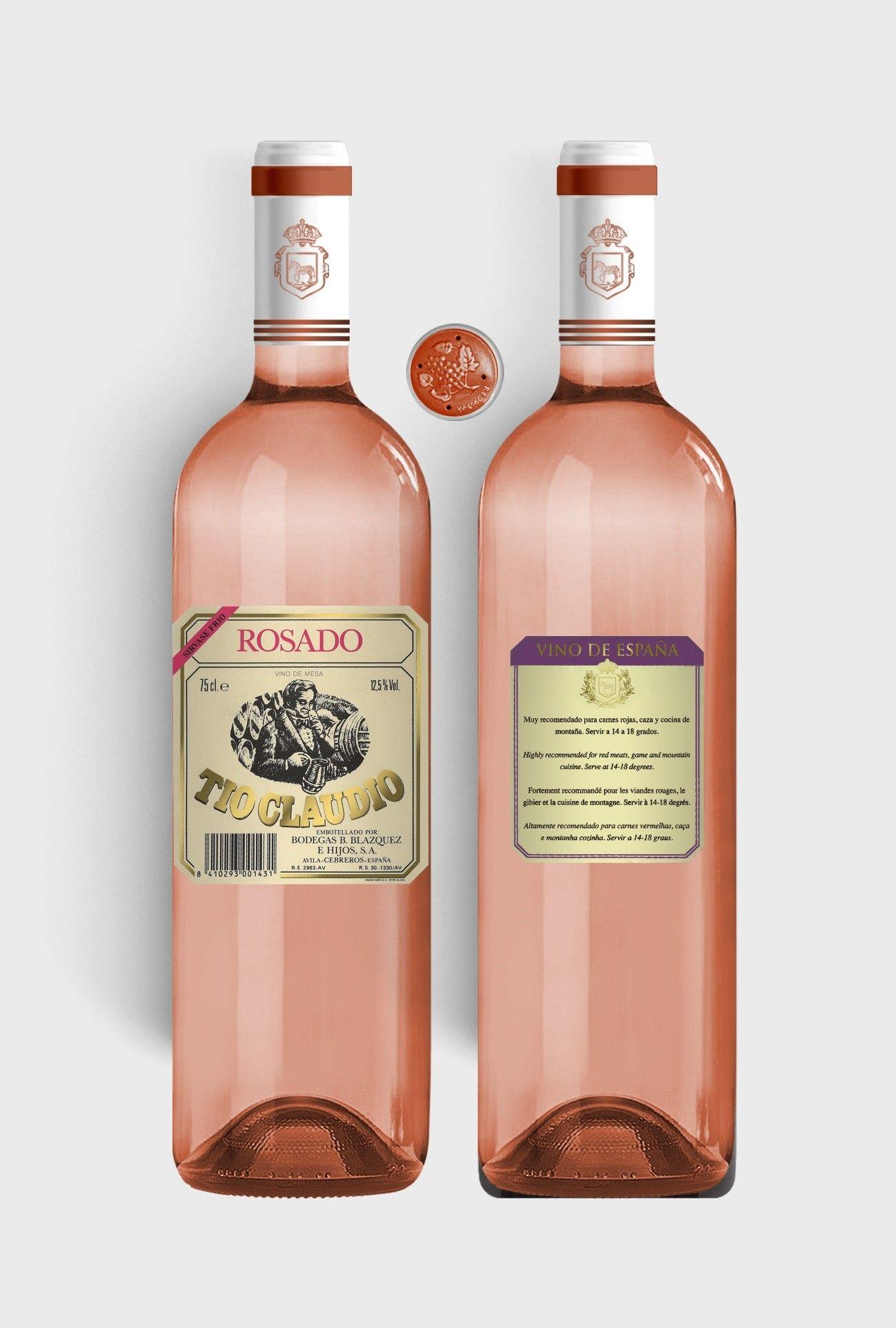Benito Blázquez - Botella de Vino Tío Claudio Rosado