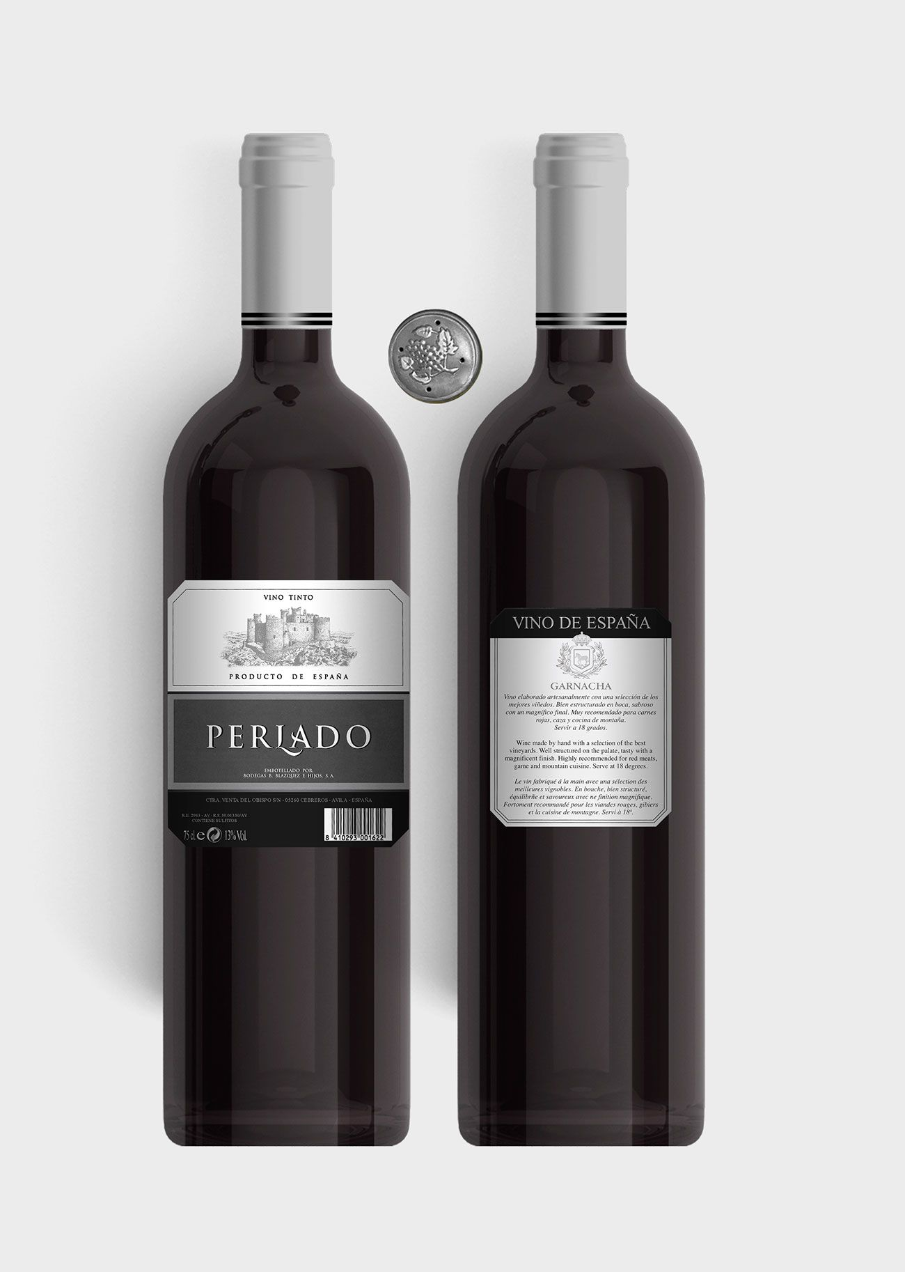 Benito Blázquez - Botella de Vino Tinto Perlado Plata