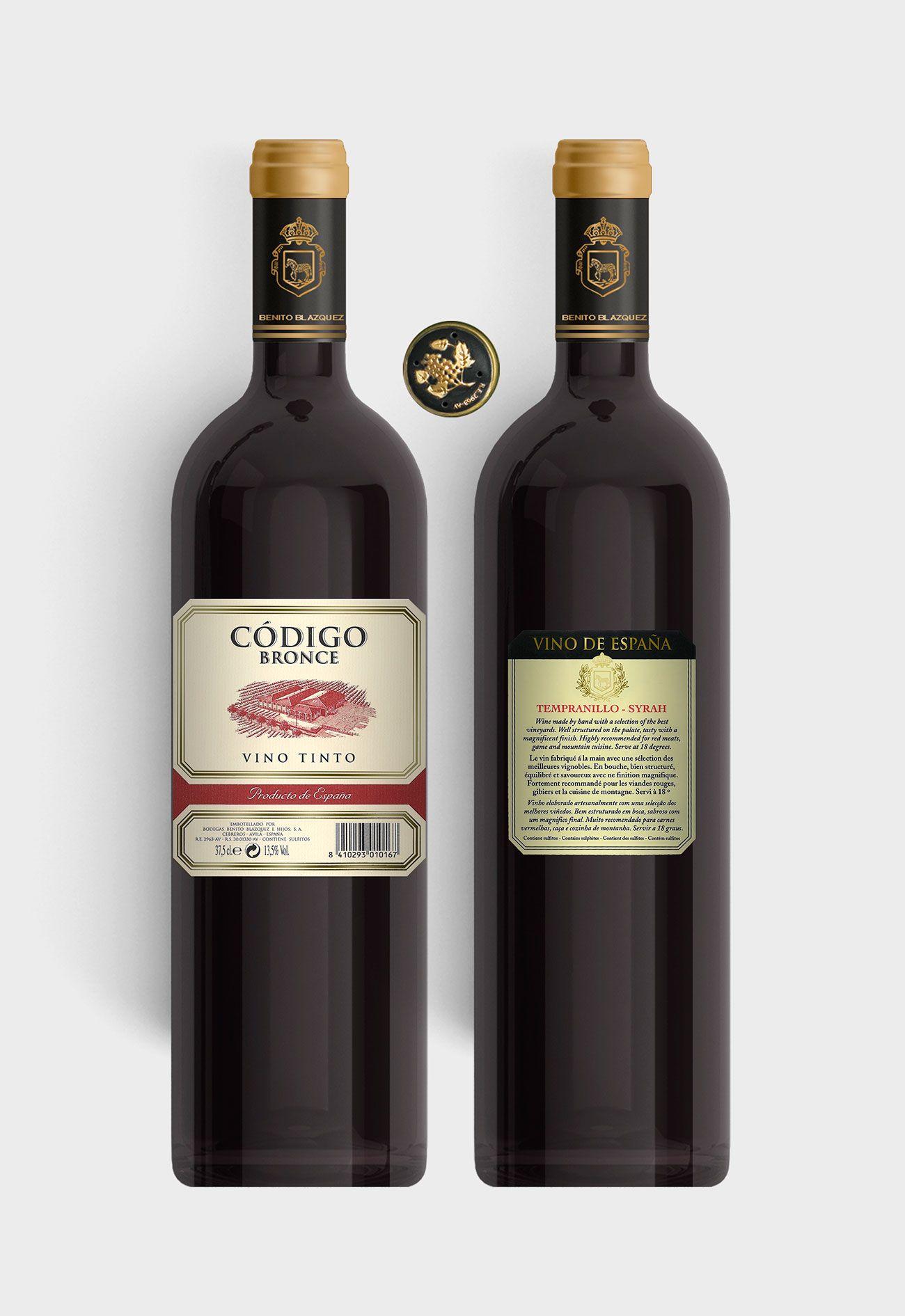 Benito Blázquez - Botella vino tinto Código Bronce