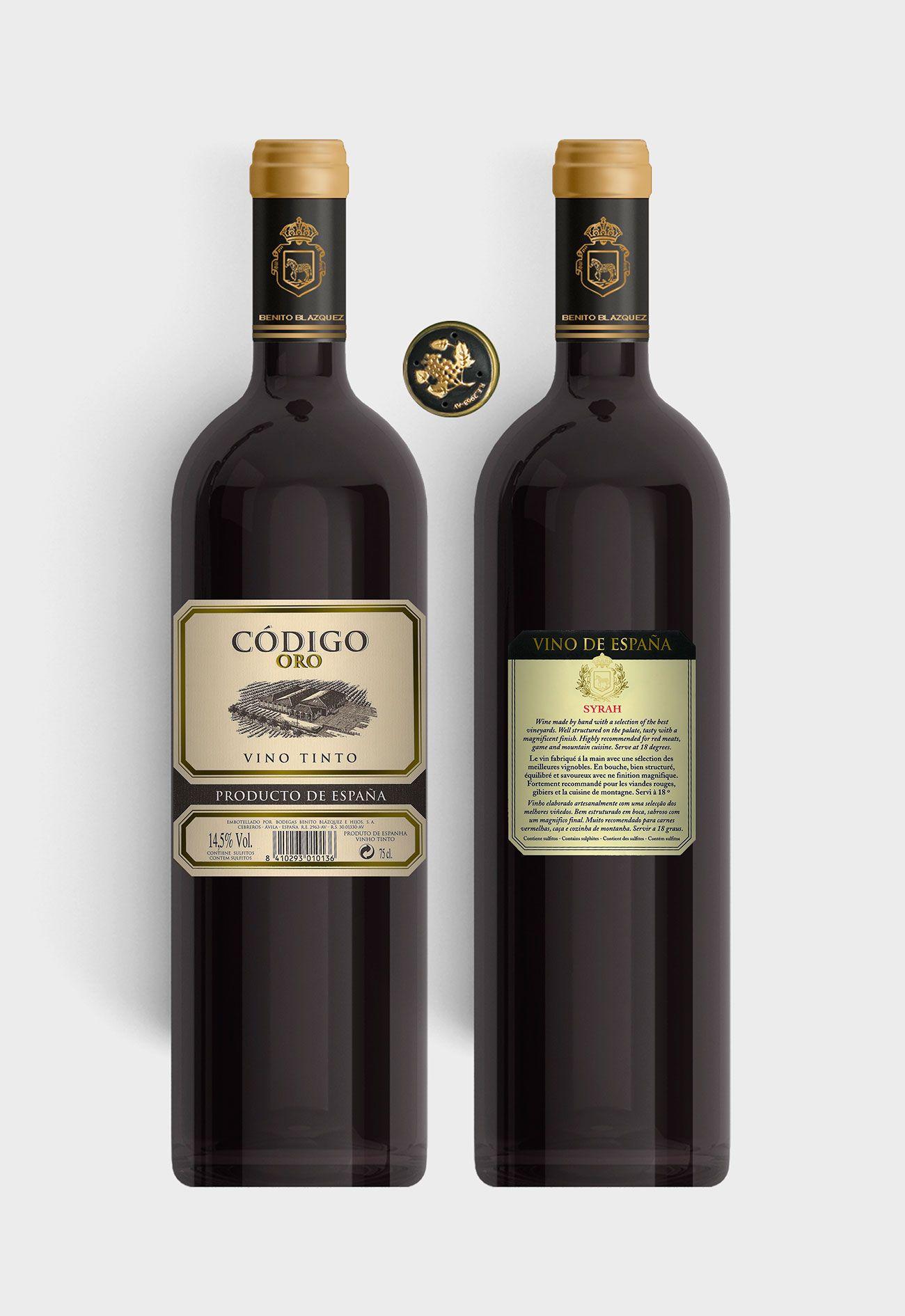 Benito Blázquez - Botella vino tinto Código Oro