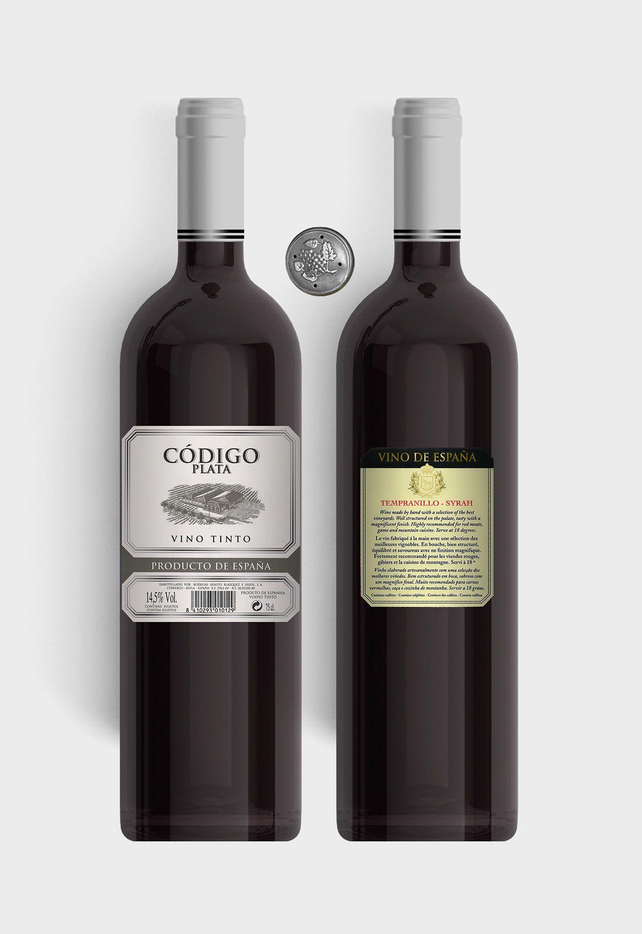 Benito Blázquez - Botella vino tinto Código Plata