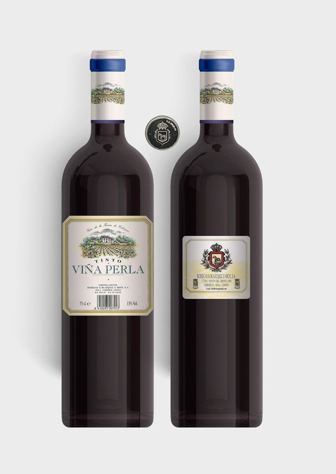 Benito Blázquez - Botella vino tinto Viña Perla